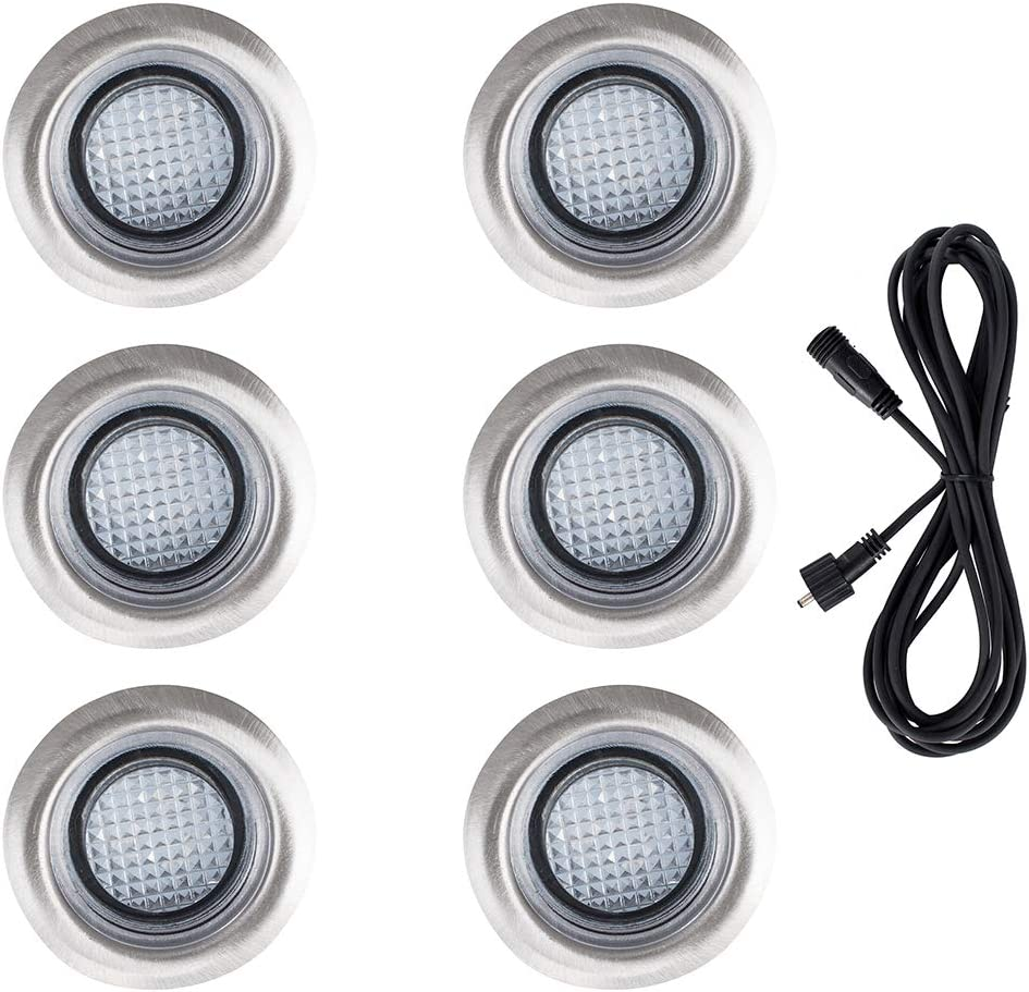 Pack of 6 MiniSun 40mm White LED Round IP67 Rated Garden Decking//Kitchen Plinth Lights Kit Complete with a 3M Extension Cable