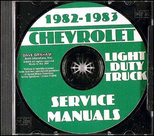 1982 1983 CHEVROLET VANS REPAIR SHOP & SERVICE MANUAL CD - INCLUDES: SPORTVAN & CUTAWAY VAN - CHEVY 82 83
