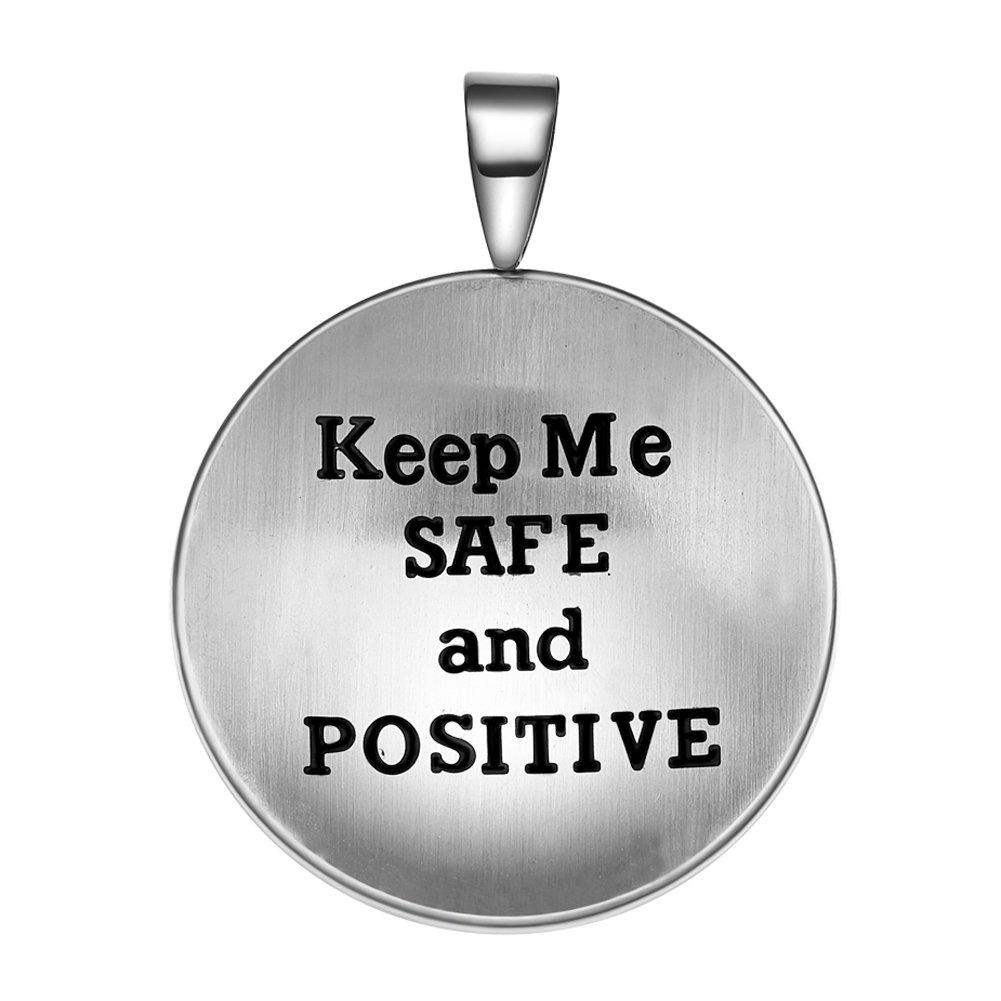 Guardian Archangel Raphael Sigil Amulet Keep Me Safe and Positive Inscription Prayer 22 Inch Necklace