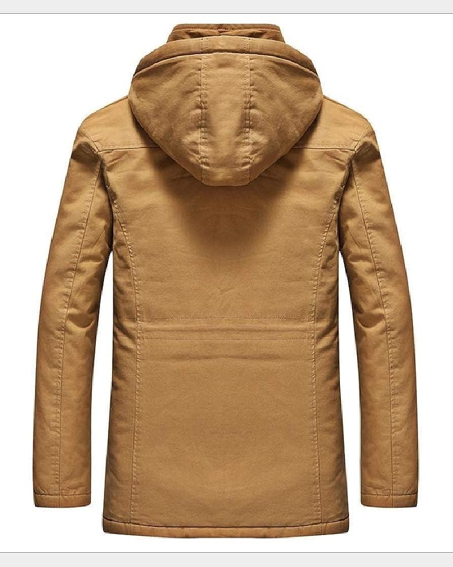 YUNY Men Outwear Fleece Plus Size Baggy Hoodie Overcoat Trench Coat Khaki S