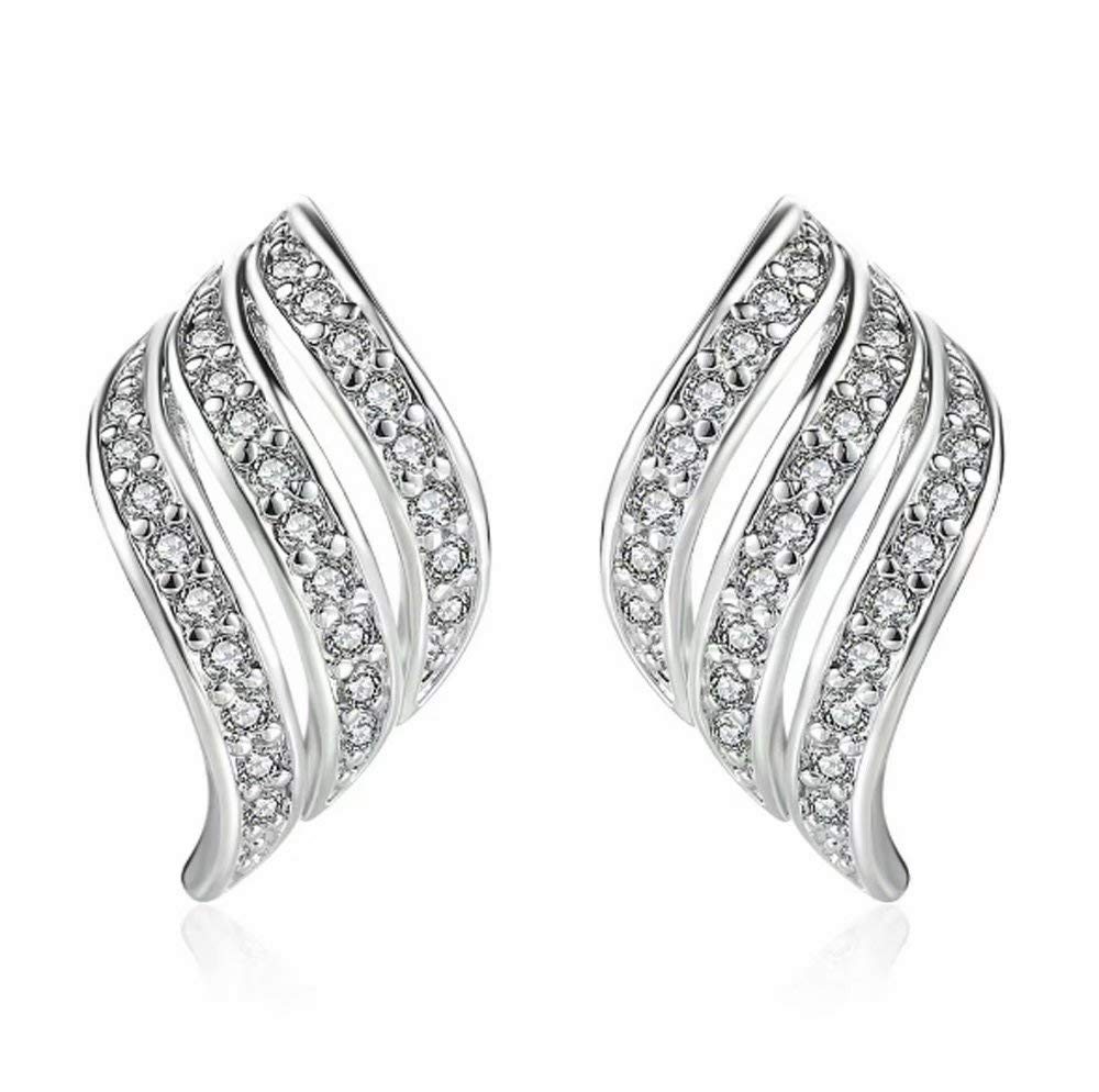 Lady Elegant Rose Gold Diamond-studded Curving Ear Stud Exquisite Earrings for Women Wedding Jewelry Clearance
