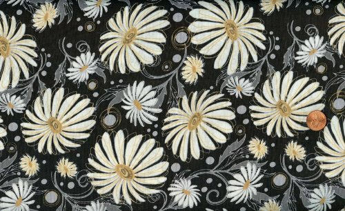 Northcott 'Groovin' Daisies on Black Cotton Fabric - 1yd 28in