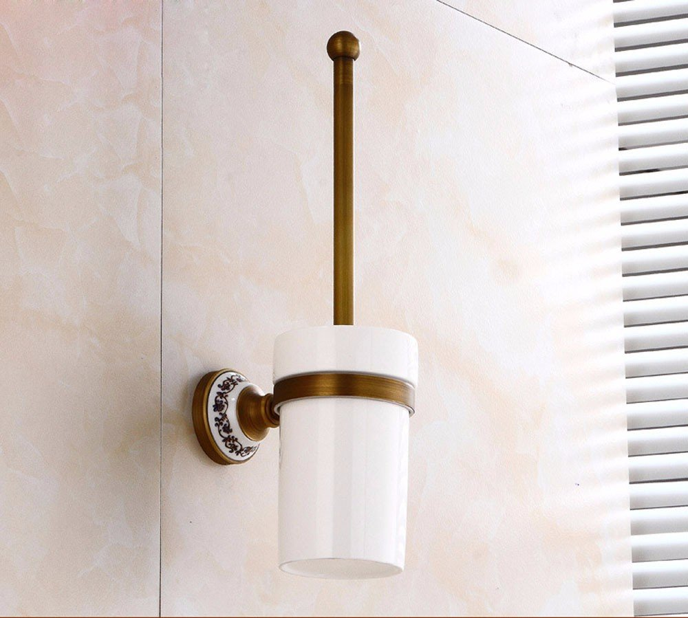 Lx.AZ.Kx Toilet Brush and Holder with long handle for Bathroom Toilet Classic Solid Brass  Classic Kitchen Hardware Antique Furniture