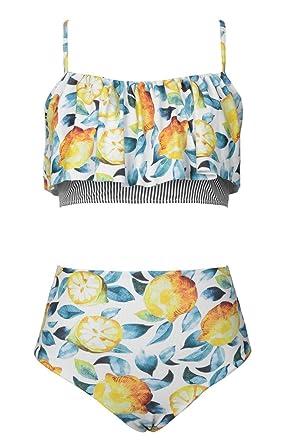 f64ec5d00 Seaselfie Women's Lemon Print Falbala Reversible Padded High Waisted Bikini  Set, ...