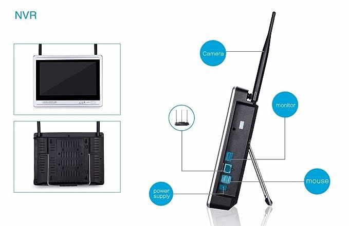 ... con monitor inalámbrico de seguridad IP Sistemas de cámara Wifi NVR Kit 8channel 12 pulgadas de pantalla 960P Cámara de vigilancia casera al aire libre ...