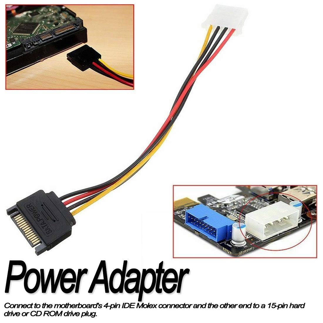 Desconocido 4 Pin Molex IDE to 15 Pin Serial Power Adapter Cable Converter