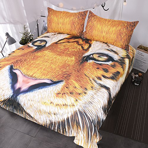 BlessLiving 3d Tiger Bed Set Yellow Brown Tiger Face Drawing Duvet Cover Set Teens Kids Vivid Colored Big Cat Bedding (Full)