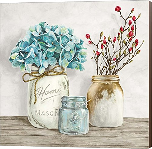 Floral Composition with Mason Jars I by Jenny