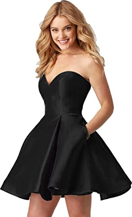 Short Graduation Prom Dresses 2018 New With Pockets For Teens Black