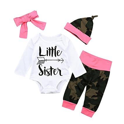 Feixiang Bebé recién Nacido niños niñas Trajes para niños Sudaderas Carta Tops + Pantalones de Camuflaje