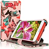 iGadgitz 'Designer Collection' Folio Butterfly Pattern PU Leather Case Cover for Sony Xperia Z3 Compact D5803 D5833 with Multi-Angle Viewing Stand + Screen Protector