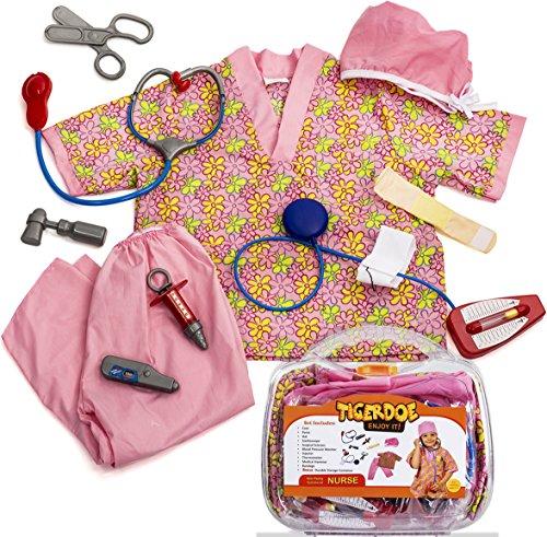 Nurse Costume for Kids - Kid Nurse Kit - Dress Up Clothes - Toy Nurses Accessories W/ Case by Tigerdoe