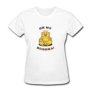 c860fe495 Pookeng Oh My Buddha Women's Funny Short Sleeve T-Shirts Tees Size S White