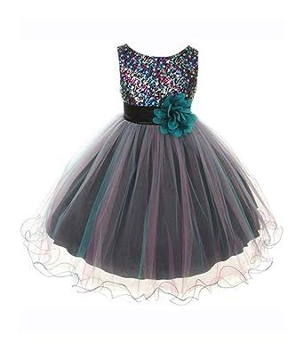 ec0edb0a7db8 Amazon.com  Kid s Dream Girl s Lilac Sequin Bodice Mesh Girl Dress ...