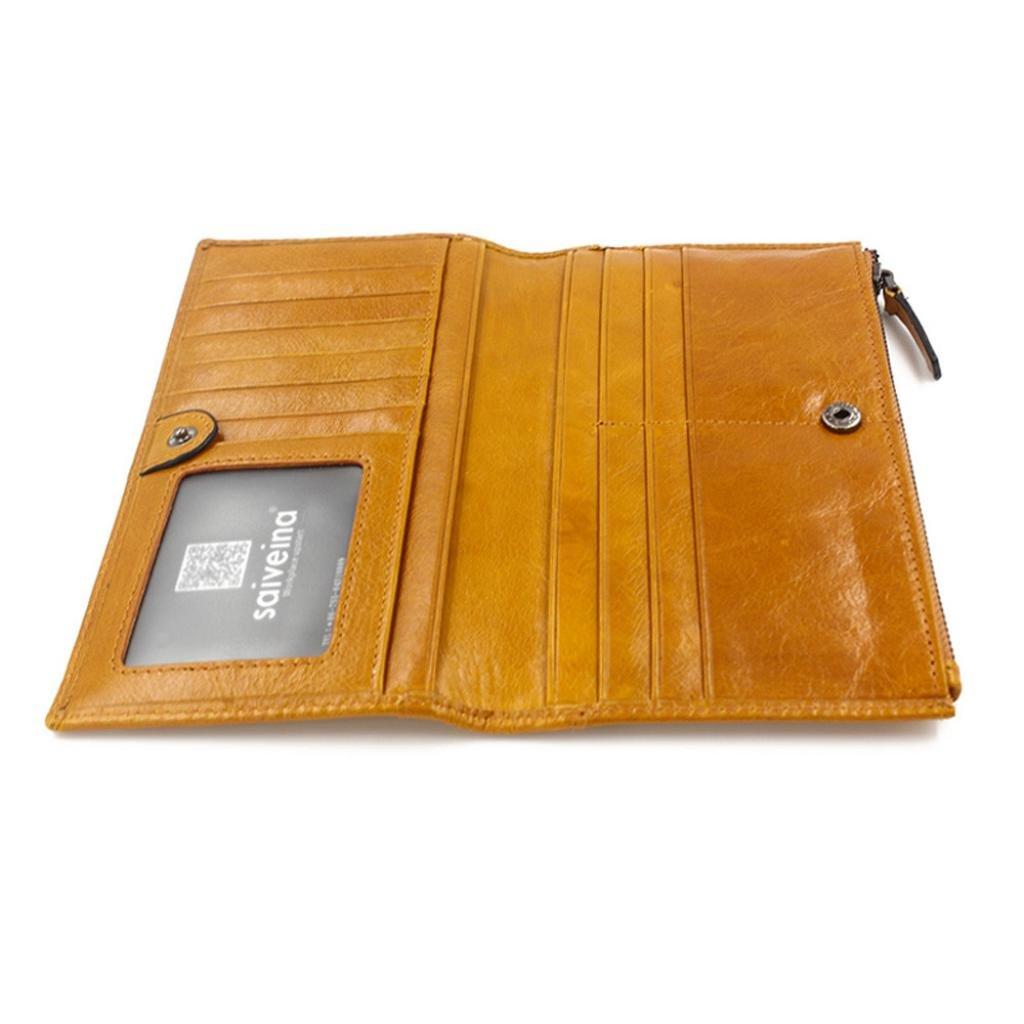 AIMEE7 carteras de piel hombre, billetera de cuero hombre, billetera xxl hombre, billetera larga hombre, carteras vintage hombre (Amarillo, ...
