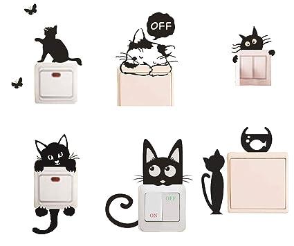 Amazon Com Removable Switch Sticker 6 Pcs Cute Black Cats Cartoon