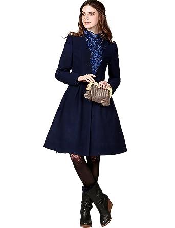 Artka Women's Fall Vintage Embroidered Cinch Waist Woolen Dress ...