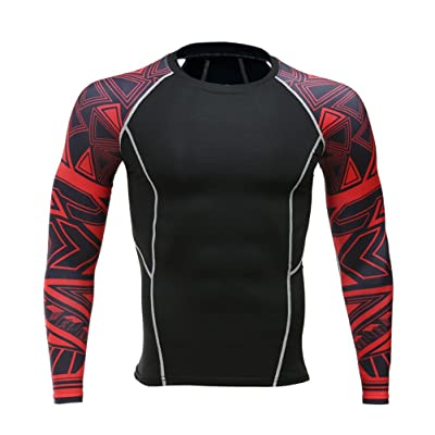 Add Muscle Male Tight t-Shirts Long Sleeve Printed On Both Sides Of Fitness Base Layer Weights To Wear 120 XXL