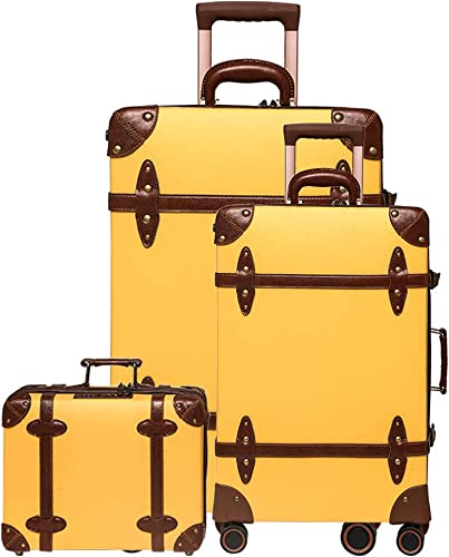NZBZ vintage luggage set carry on cute suitcase with rolling spinner wheels Tsa lock luggage 3 pieces Knight Gold, 14inch 20inch 28inch