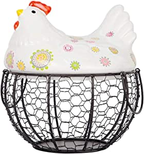 HEMOTON Rustic Wire Egg Basket with Ceramic Chicken Top and Handles Metal Basket Holder Countertop Organizer for Chicken Egg Carrying Collecting Farmhouse Rustic Kitchen Decor