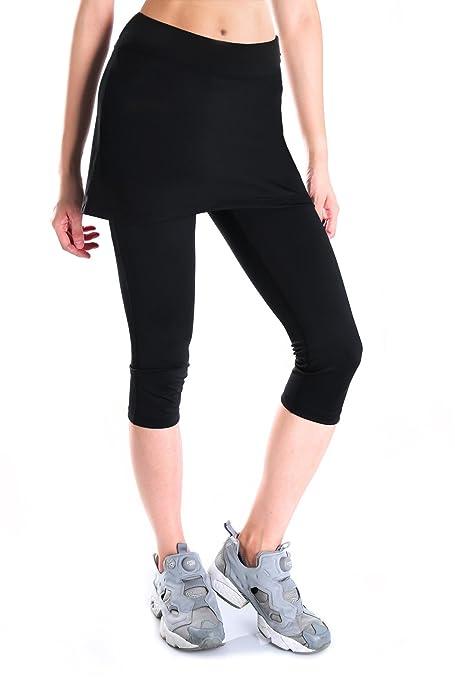 1651a6a35d03c Yogipace Women's UV Protection 2 in 1 Capri Leggings with Skirt, Running  Skirted Capri,