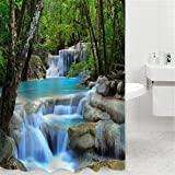 JOYBUY Shower Curtain 3D Waterfall Landscape Nature Scenery Water Resistant Bathroom Home Decor 200cm × 180cm