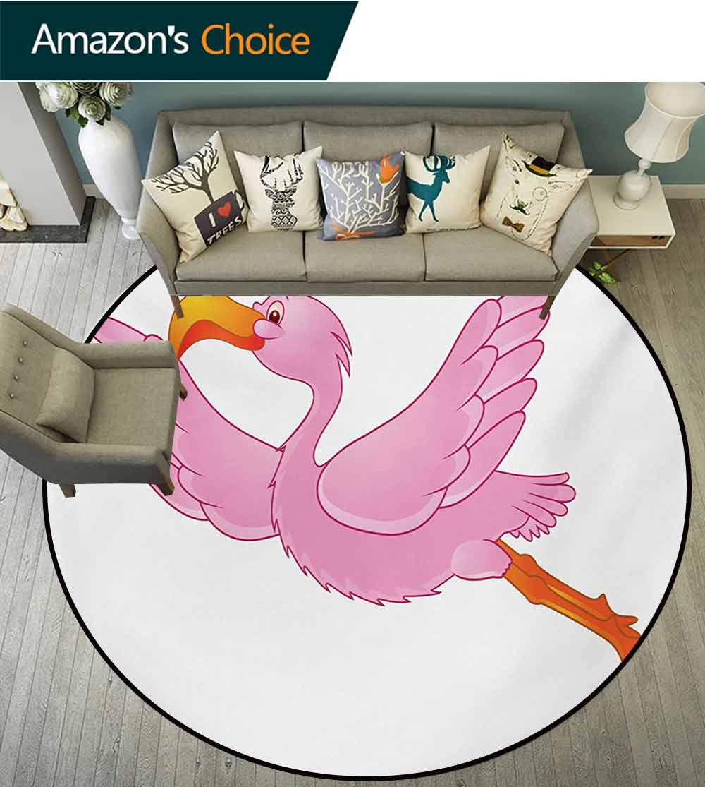 RUGSMAT Orange and Pink Non Slip Round Rugs,Flying Tropical Flamingo Pattern Cartoon Style Exotic Animal Illustration Oriental Floor and Carpets,Round-63 Inch Orange Pink