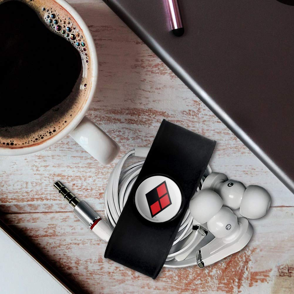 Black Charging Cable Manager GRAPHICS /& MORE Harley Quinn Diamond Logo Headphone Earbud Cord Wrap Wire Organizer Set of 2
