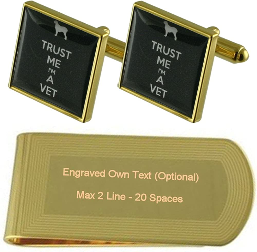 Vet Pet Gold-tone Cufflinks Money Clip Engraved Gift Set