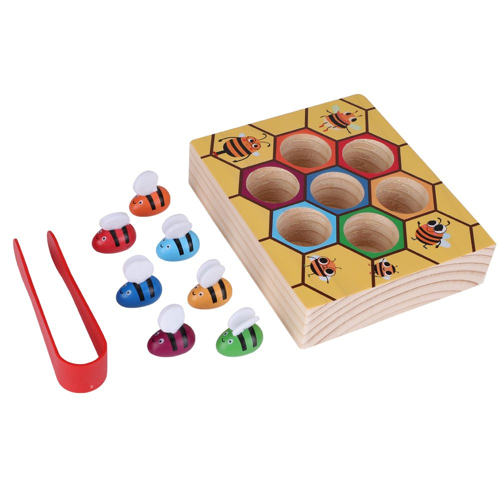 8febc77361d Zerodis Wooden Fun Bee Picking Catching Practices Toy Kids Hand Grasping  Training Beehive Box Games Tool Early Educational Props  Amazon.co.uk   Kitchen   ...
