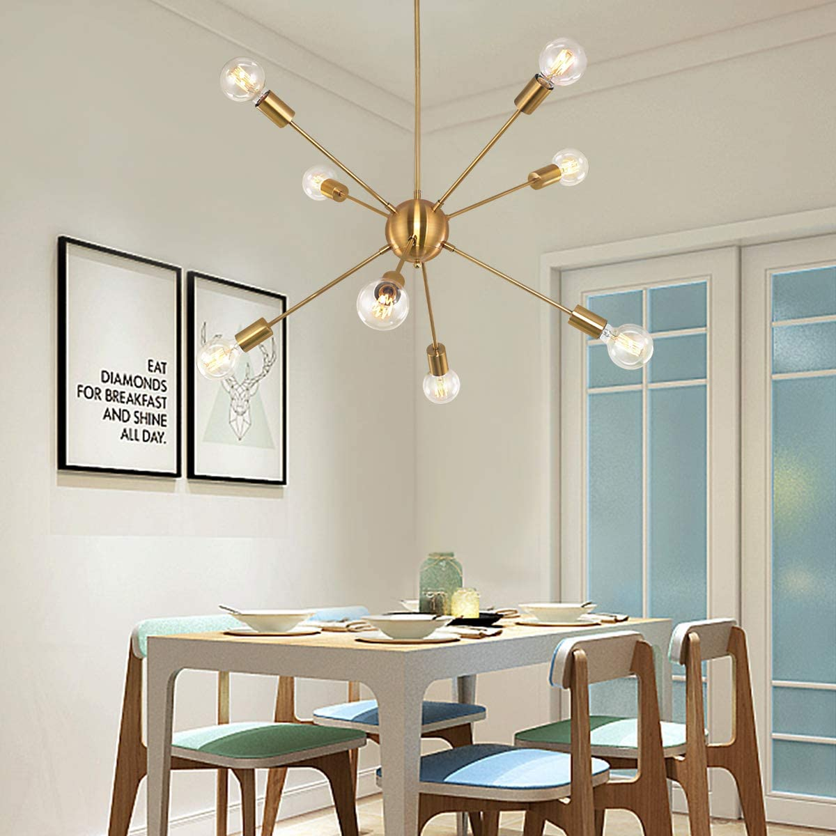 SGLfarmty Sputnik Chandelier 8 Lights Pendant Chandelier Lighting Mid Century Vintage Ceiling Light Fixture Brushed Brass for Bar Bedroom Flat or Sloped Ceiling Gold