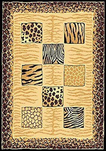 "Animal Skin Print Tiger Cheetah Print with Leopard Border Area Rug (5' 3"" x 7' 5"")"