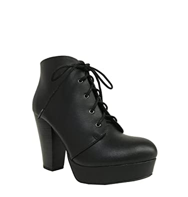 AGENDA! Women's Lace Up Chunky High Heel Platform Booties Ankle Boots