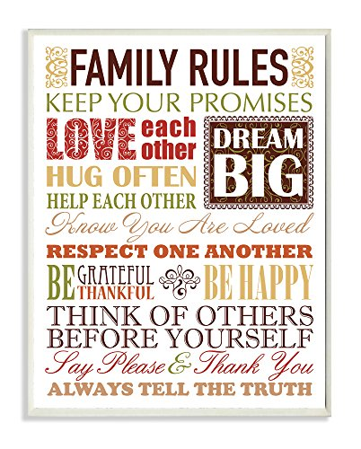 Stupell Home Décor Family Rules Autumn Colors Wall Plaque,