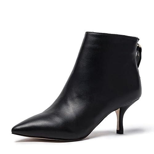 Damen Schwarz Leder Stiefeletten Frauen Schwarz Damen Wildleder Ankle Stiefel ... 5a57ee
