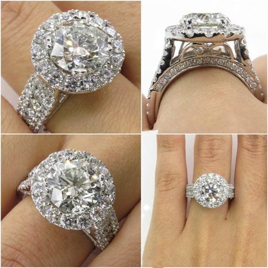 Wide Band Halo Solitaire Eternity Wedding Bands Diamond Cut Princess Anniversary Statement Rings Silver,9 FunDiscount Round Cubic Zirconia /& Simulated Gemstone Promise Engagement Ring