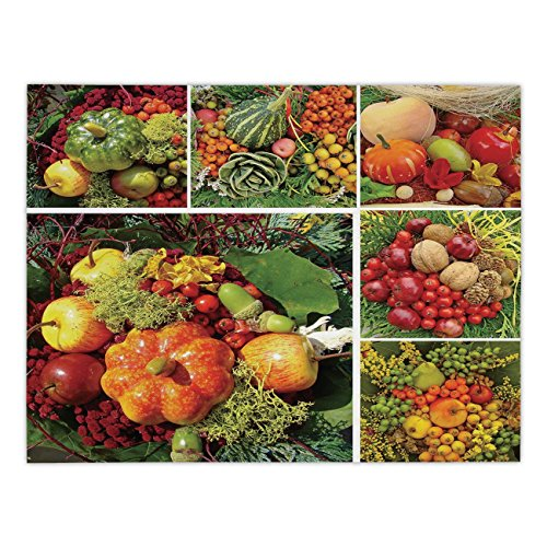 Polyester Rectangular Tablecloth,Harvest,Photograph of Products from Various Gardens and Fields Seasonal Foods Apple Walnuts Decorative,Multicolor,Dining Room Kitchen Picnic Table Cloth Cover,for Outd