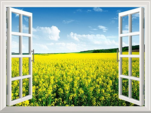Removable Wall Sticker Wall Mural Yellow Rape Field View out of the Open Window Creative Wall Decor