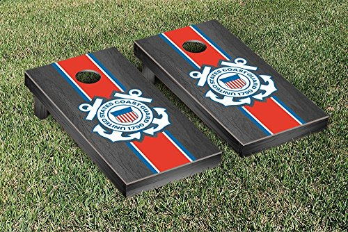 Coast Guard Stripe (US Coast Guard Cornhole Game Set Onyx Stained Stripe Version)