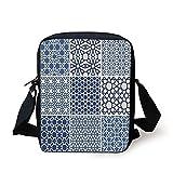 iPrint Arabian,Arabesque Islamic Motifs Geometric Lines Asian Ethnic Muslim Ottoman Element,Blue White Print Kids Crossbody Messenger Bag Purse