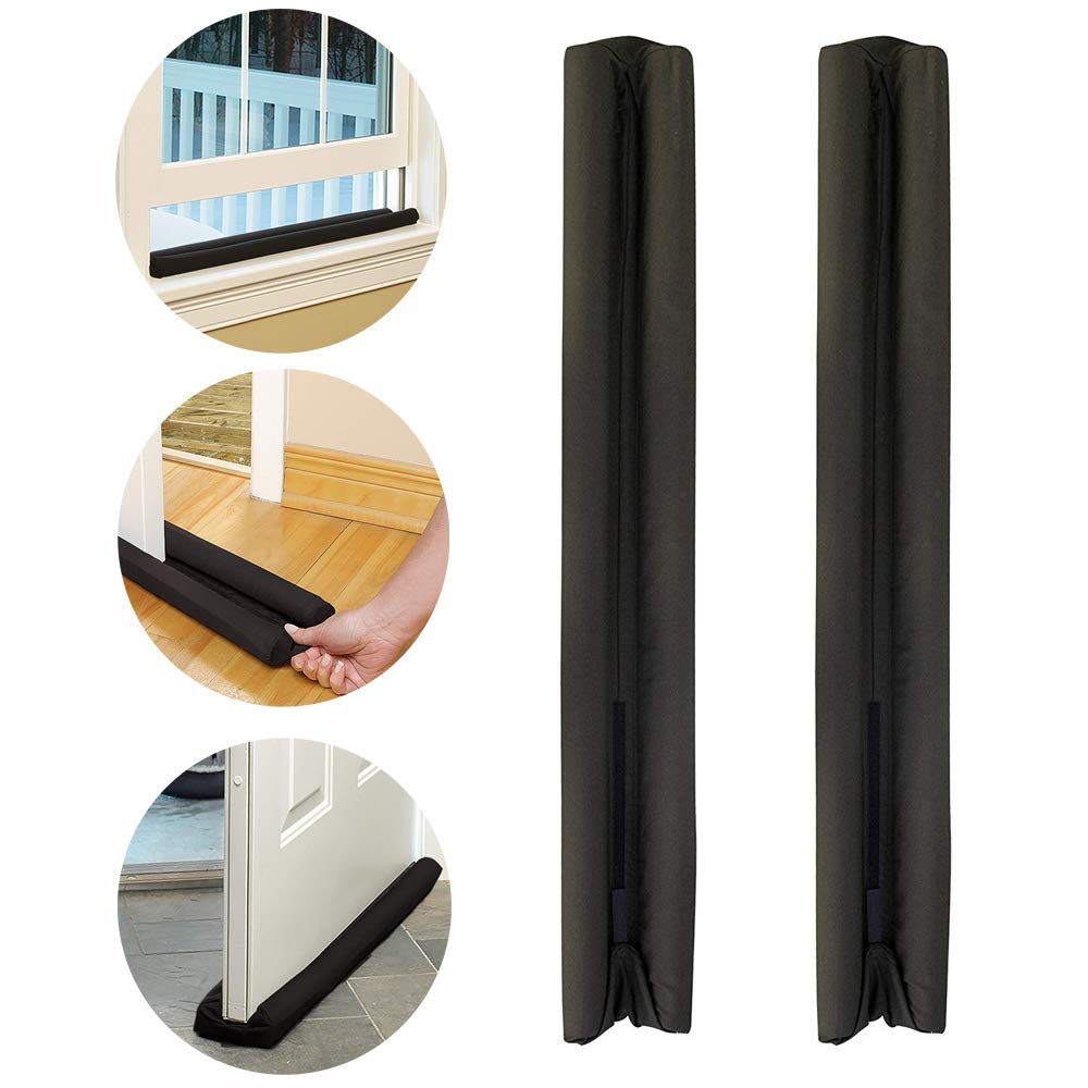 VALWORD Under Door Draft Stopper,Improved Adjustable Double Draft Noise Blocker Sweep for Sound Dust Proof Adjustable 32 to 38 inches 2 Pack (Black)