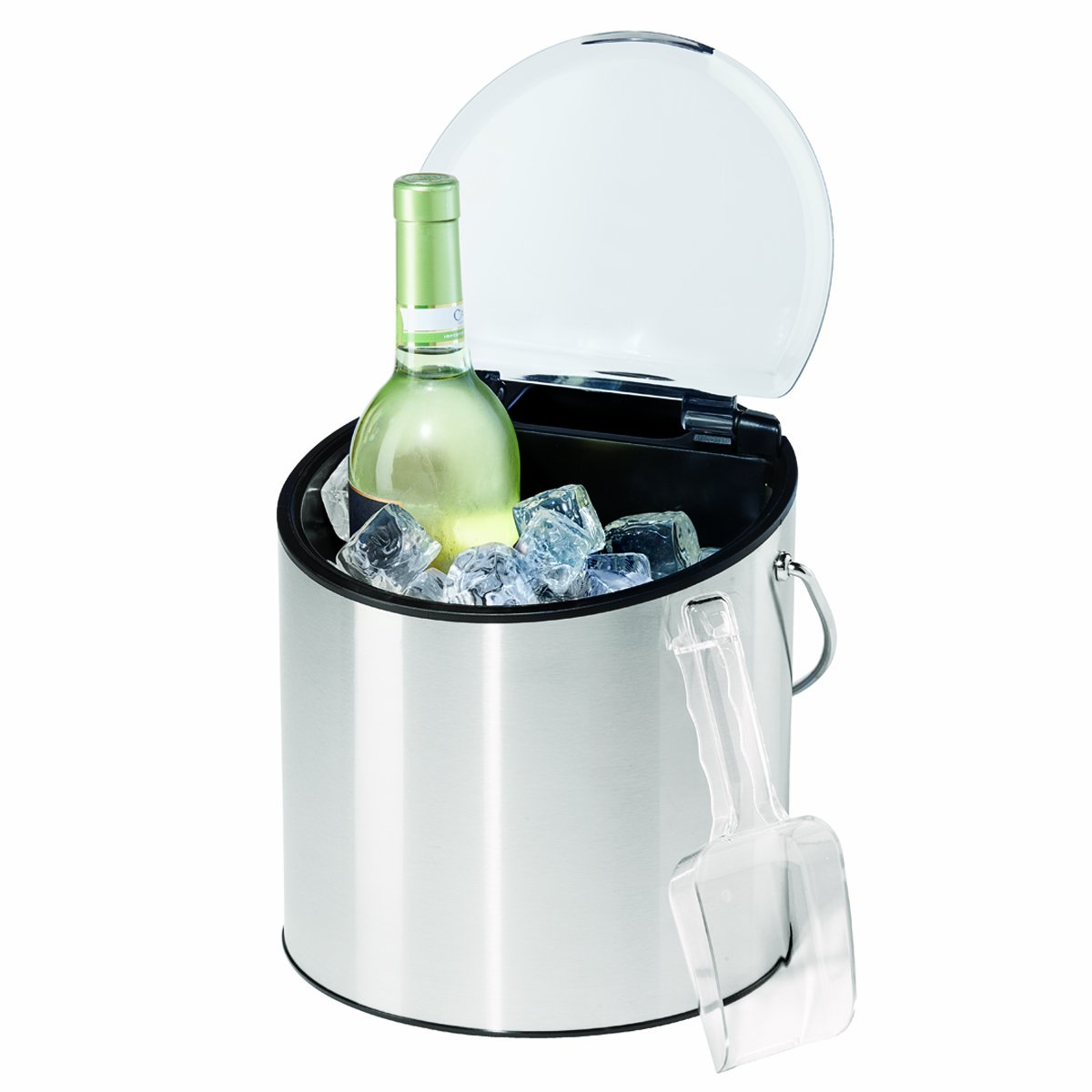 amazoncom oggi  stainless steel ice and wine bucket with  - amazoncom oggi  stainless steel ice and wine bucket with flip top lidand ice scoop holds  bottles kitchen  dining