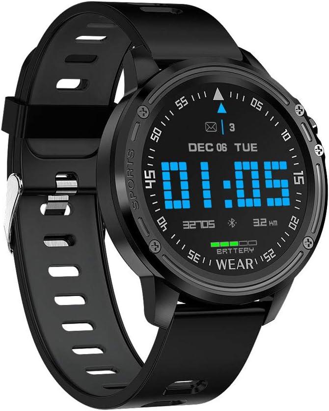 Pantalla Redonda Inteligente Pulsera Ecgppg Monitorización del ECG Multi-Touch Tiempo Informe sobre La Salud del Reloj,Negro