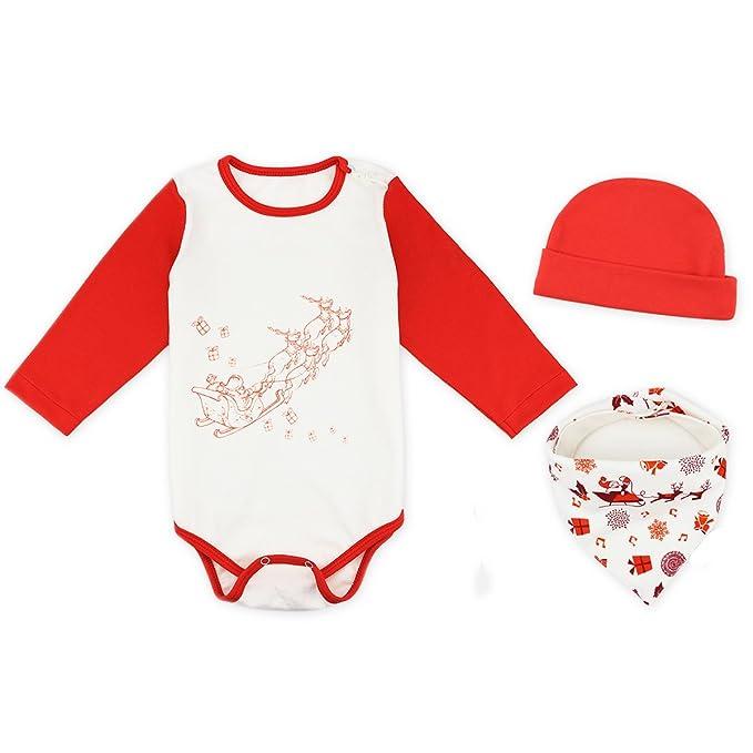 Peleles Bodies para Bebé Niñas Niños 3PCS con Gorro Babero Navidad Santa del partido 1-2Años Blanco: Amazon.es: Ropa y accesorios