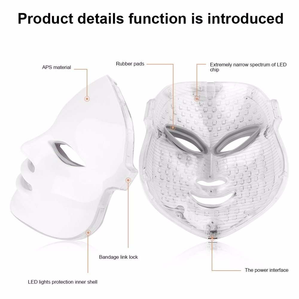 3D Phototherapy Trichromatic Color LED Mask Instrument Cold Light LED electronic Mask Instrument Professional Beauty Rejuvenation Instrument Therapy Facial Skin Care Mask Device (3 Color, White) by Yue live (Image #6)