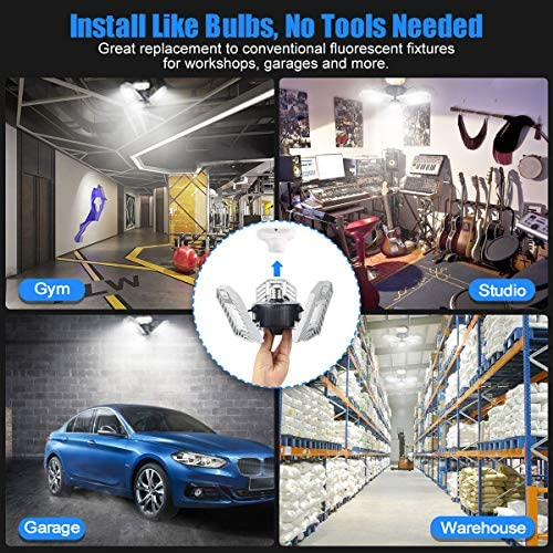 Garage Light Tanbaby LED Garage Light LED Light E26/E27 Garage Lights Ceiling LED Shop Light 60W Deformable LED Adjustable Light Garage Lighting Garage Light Bulb for Garage, Working Light (NO Sensor)