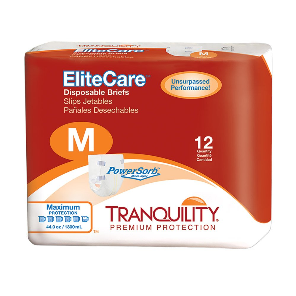 Tranquility EliteCare Maximum Absorbency Tape-Tab Style Brief (Medium - 12 Count)