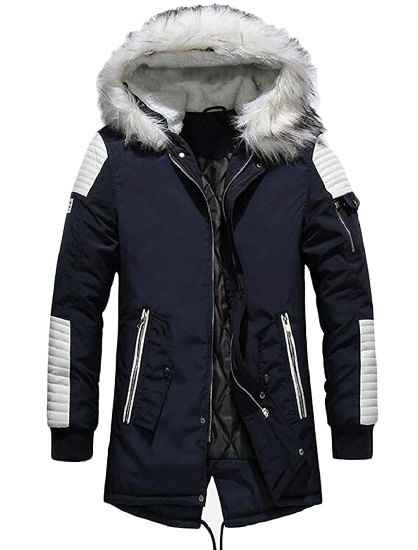 JSY Men Winter Faux Fur Hood Cotton-Padded Zip Up Patched Parkas Jacket