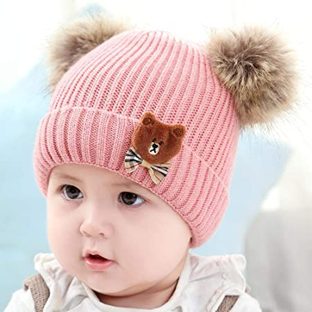 Myzixuan Winter New Kids hat Double Ball Baby Sweater hat Baby Knit Hat