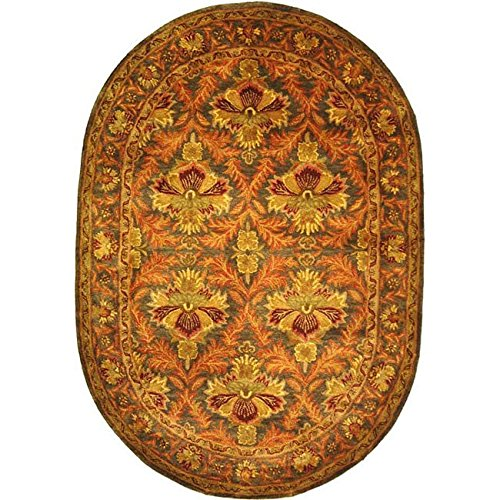 Safavieh Antiquities Collection AT54B Handmade Traditional Oriental Sage and Gold Wool Oval Area Rug (4'6